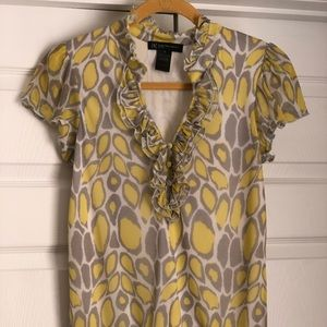 INC Petite Yellow and Grey Leopard Print Blouse